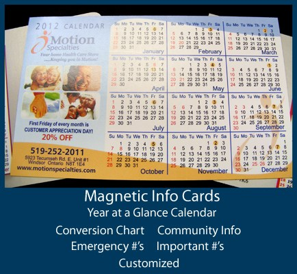 Magnetic Info Cards - Year at a Glance Calendar, Conversion Chart, Community Info, Emergency numbers, important numbers or customized