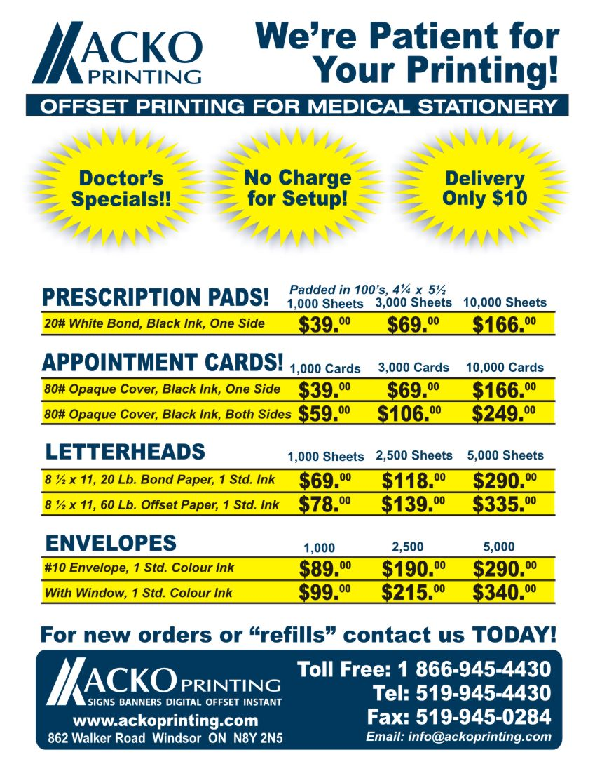 Acko Printing's Medical Printing Doctor's Promotional Pricing Chart